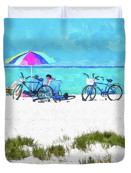 Siesta Key Beach Bikes Duvet Cover