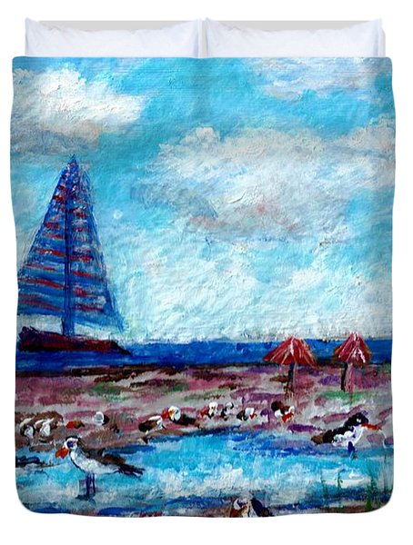 Duvet Cover featuring the painting Siesta Key Gulls Miniature  by Lou Ann Bagnall