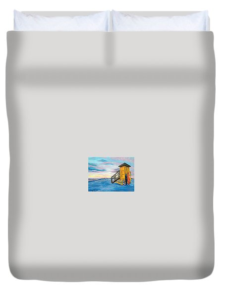 Siesta Key Life Guard Shack At Sunset Duvet Cover