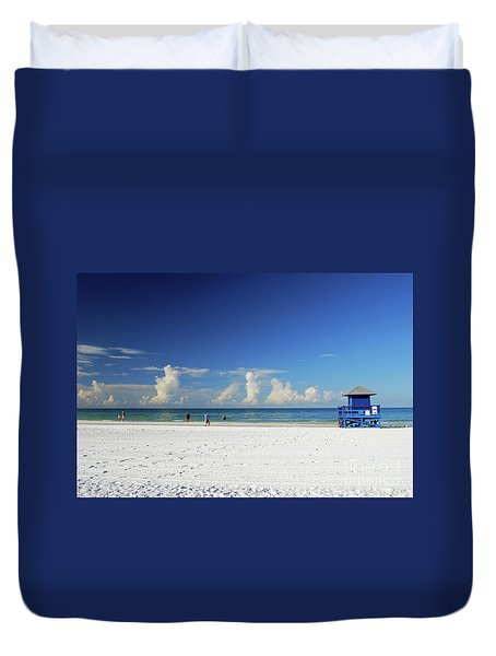 Duvet Cover featuring the photograph Siesta Key Life Guard Shack by Gary Wonning