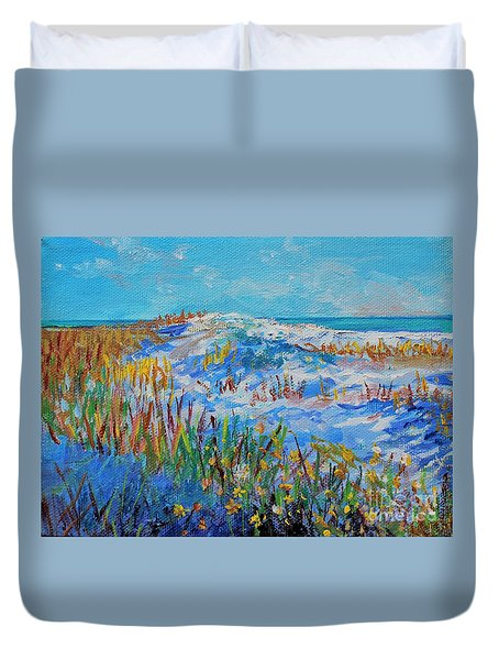 Duvet Cover featuring the painting Siesta Key Sand Dune by Lou Ann Bagnall