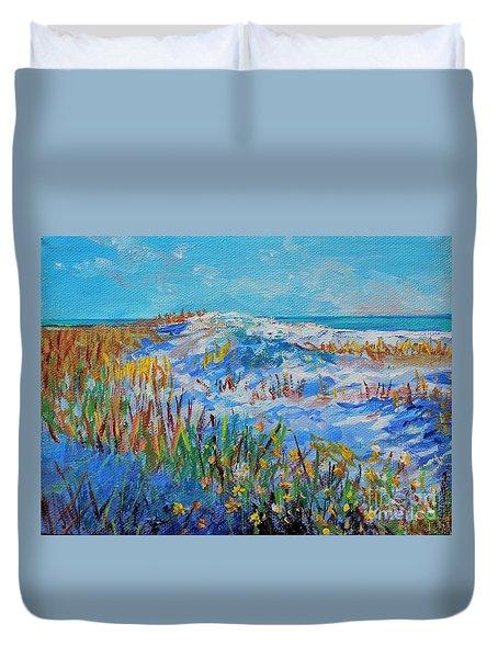 Siesta Key Sand Dune Duvet Cover by Lou Ann Bagnall