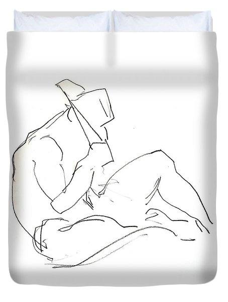 Duvet Cover featuring the drawing Siesta - Male Nude by Carolyn Weltman
