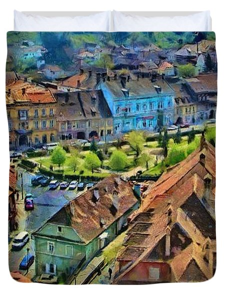 Duvet Cover featuring the painting Sighisoara From Above by Jeff Kolker