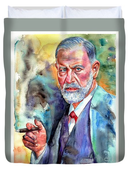 Sigmund Freud Painting Duvet Cover