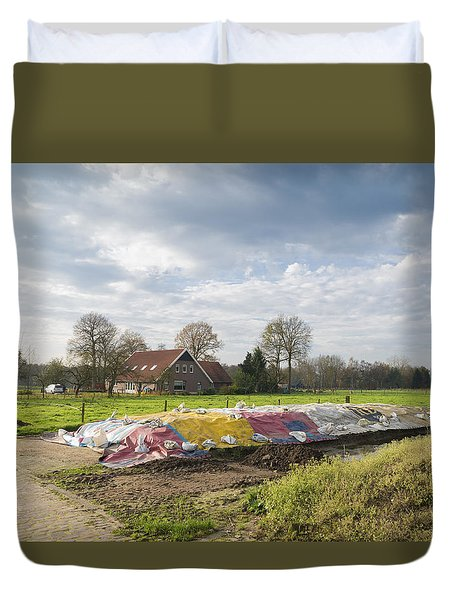 Duvet Cover featuring the photograph Silage Food by Hans Engbers