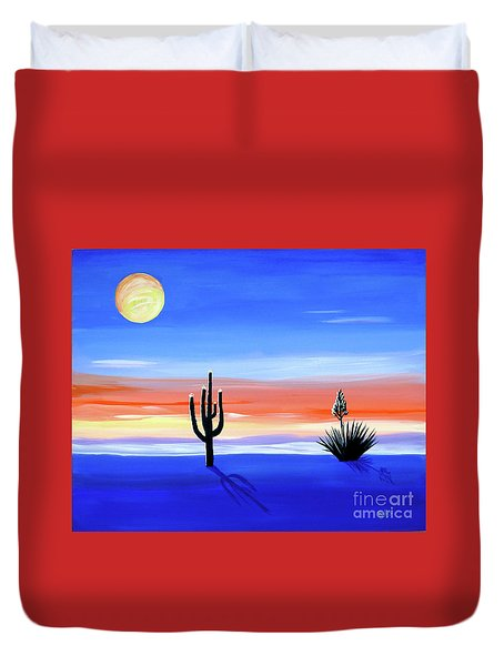 Duvet Cover featuring the painting Silellnt Shadows by Phyllis Kaltenbach