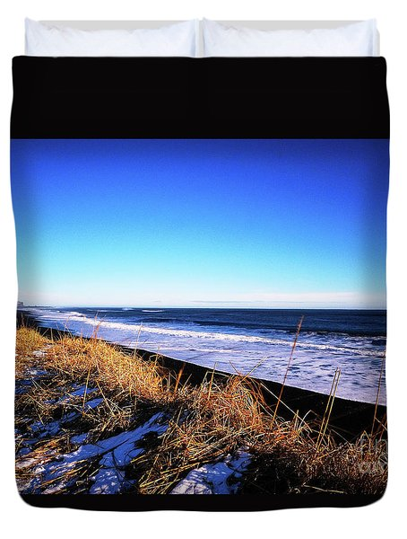Silence At Black Sand Beach Duvet Cover