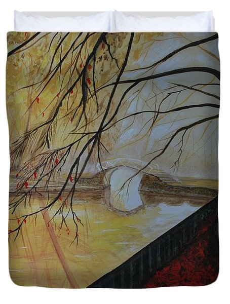 Duvet Cover featuring the painting Silence by Leslie Allen