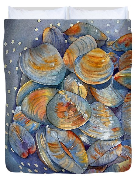 Duvet Cover featuring the painting Silence Of The Clams by Judy Mercer