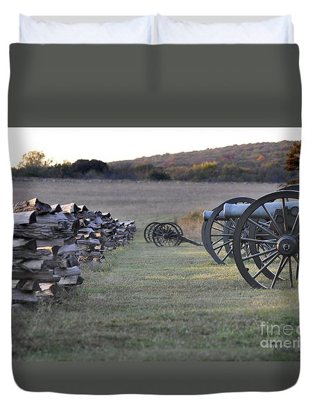 Duvet Cover featuring the photograph Silent Battlefield by Nava Thompson