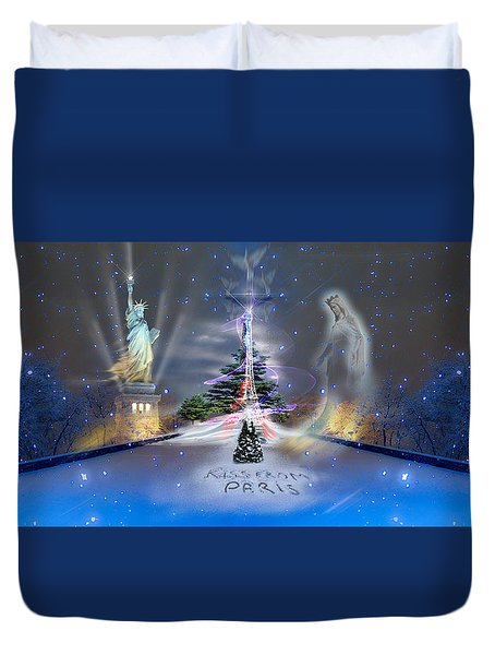 Silent Night  A Kiss From Paris And Back Duvet Cover