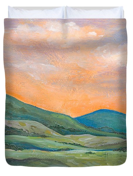 Duvet Cover featuring the painting Silent Reverie by Tanielle Childers