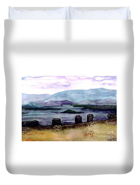 Duvet Cover featuring the painting Silent Sentinels by Patricia Griffin Brett