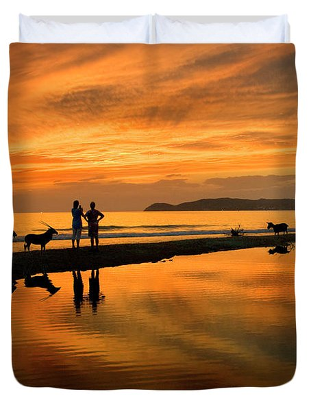 Silhouette And Amazing Sunset In Thassos Duvet Cover