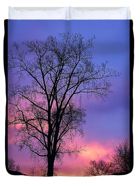 Duvet Cover featuring the photograph Silhouette At Dawn by Larry Ricker