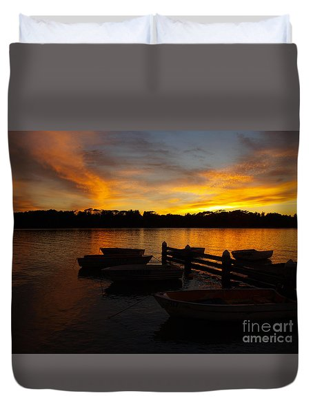 Silhouette Boats Duvet Cover