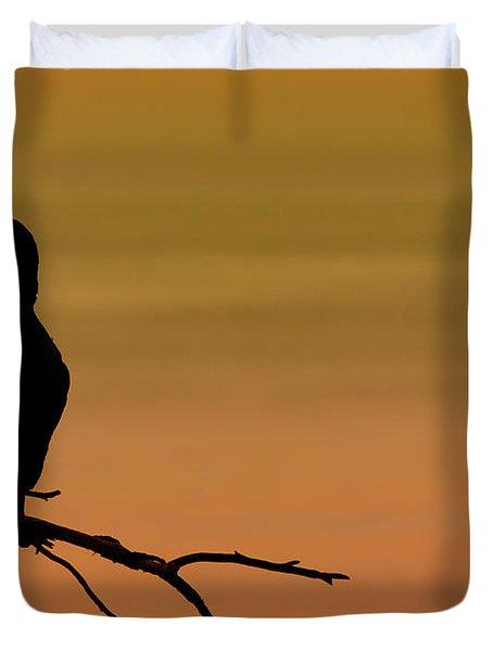 Silhouette Cormorant Duvet Cover by Sebastian Musial