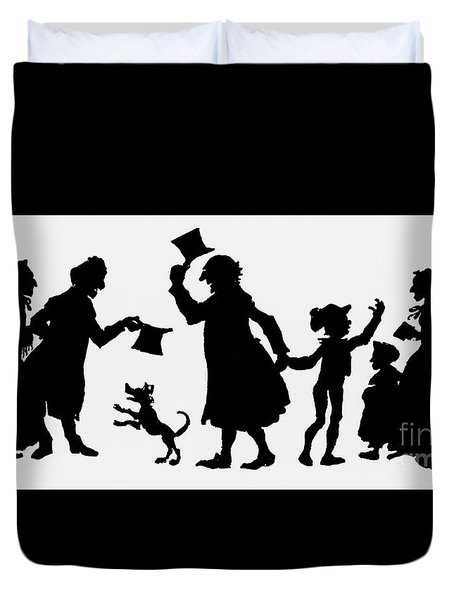Silhouette Illustration From A Christmas Carol By Charles Dickens Duvet Cover by English School