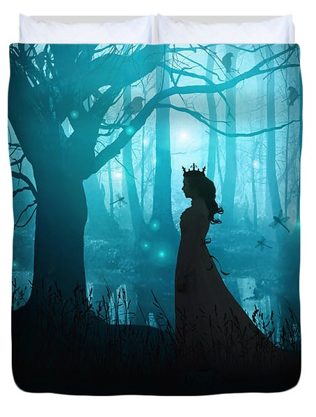 Silhouette Of A Womanin In A Forest At Twilight Duvet Cover