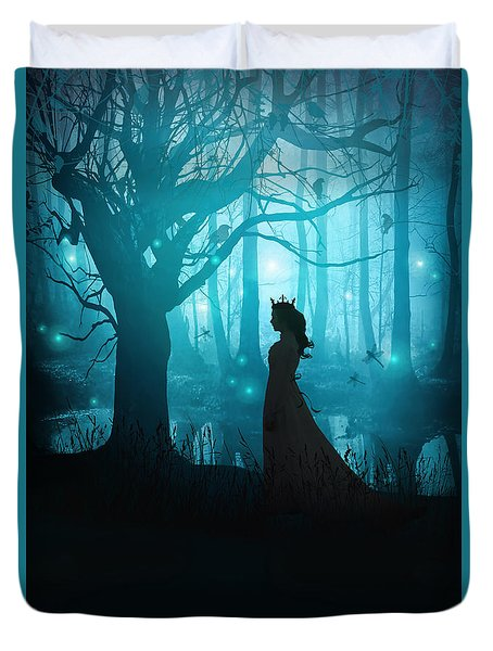 Silhouette Of A Womanin In A Forest At Twilight Duvet Cover by Sandra Cunningham