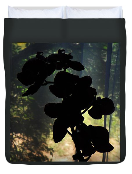 Silhouette Of Orchid Flowers Duvet Cover