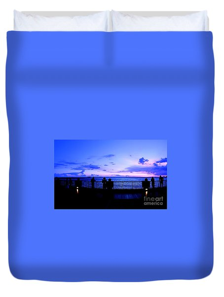 Duvet Cover featuring the photograph Silhouette Of People At Sunset by Yali Shi
