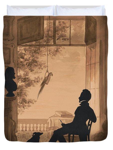 Silhouette Profile Of Artist Charles Fenderich, 1841 Duvet Cover