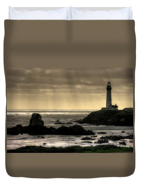 Silhouette Sentinel - Pigeon Point Lighthouse - Central California Coast Spring Duvet Cover by Michael Mazaika