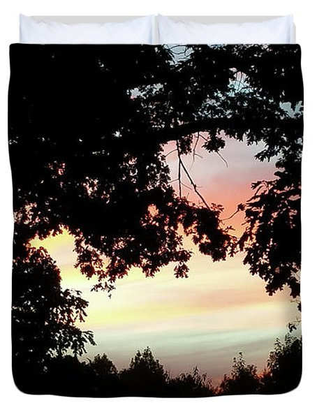 Fall Silhouette Sunset Duvet Cover by Donna Brown