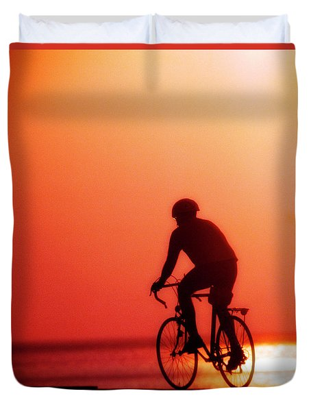 Silhouetted Bike Rider Sunrise Chicago Lake Front  Duvet Cover