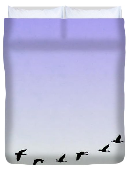 Silhouetted Flight Duvet Cover