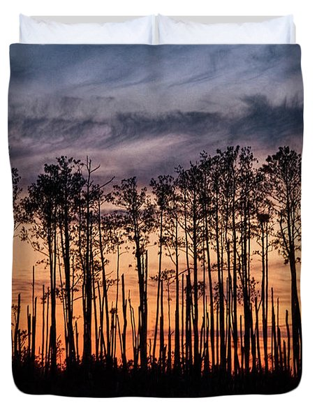 Silhouetted Sunset Duvet Cover