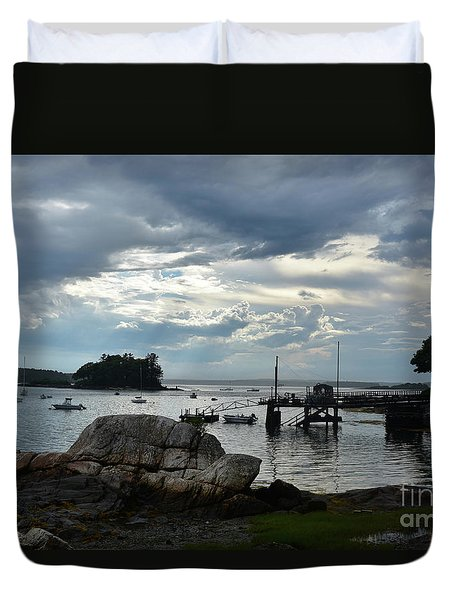 Silhouetted Views From Bustin's Island In Maine Duvet Cover