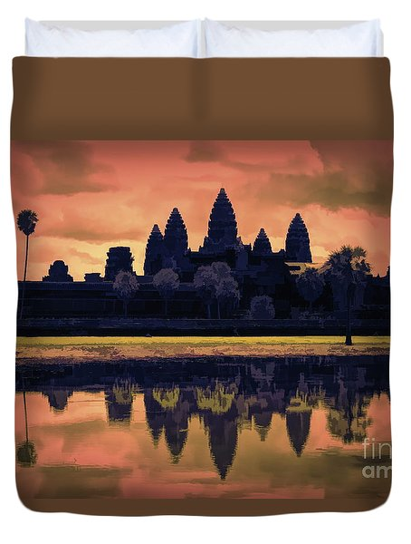 Silhouettes Angkor Wat Cambodia Mixed Media  Duvet Cover