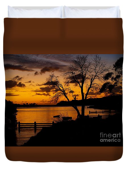 Silhouettes At Sunrise Duvet Cover