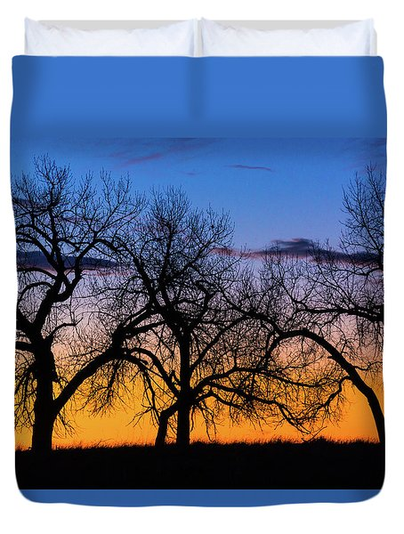 Silhouettes Of A Spring Sunrise Duvet Cover