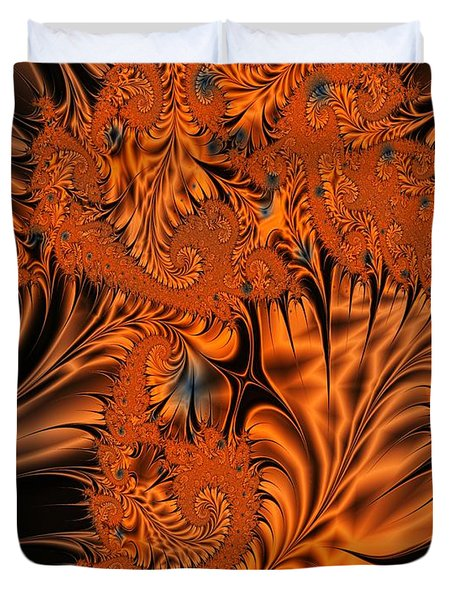 Silk In Orange Duvet Cover by Ron Bissett