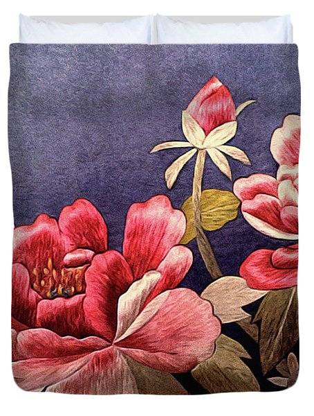 Duvet Cover featuring the tapestry - textile Silk Peonies - Kimono Series by Susan Maxwell Schmidt