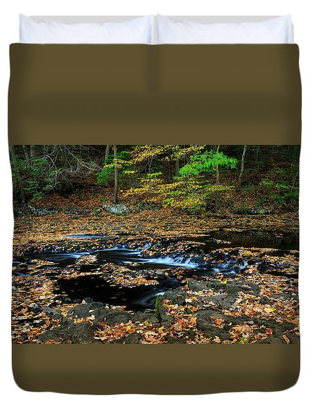 Silky New England Stream In Autum Duvet Cover