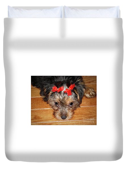 Silky Terrier Puppy Face Duvet Cover