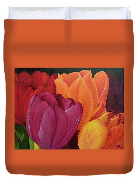 Silky Tulips Unite  Duvet Cover