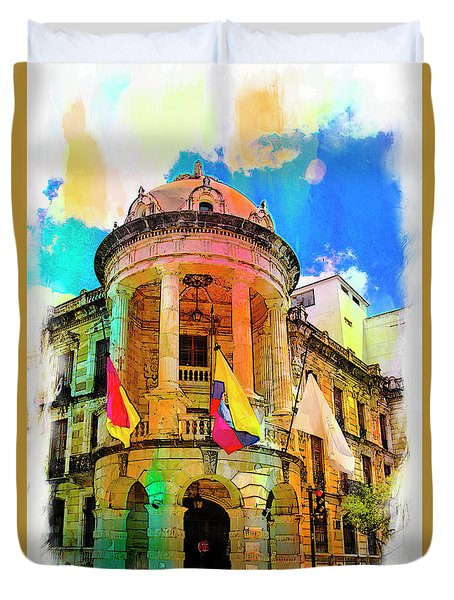 Silly Hall, Cuenca, Ecuador Duvet Cover by Al Bourassa