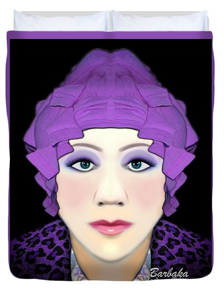 Duvet Cover featuring the photograph Silly Headdress by Barbara Tristan