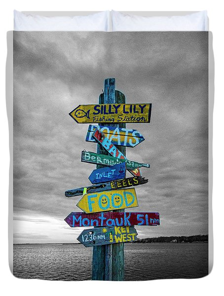 Silly Lily Fishing Station Sign Duvet Cover
