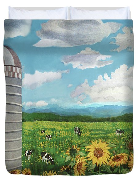 Silo Farm Duvet Cover by Bonnie Siracusa