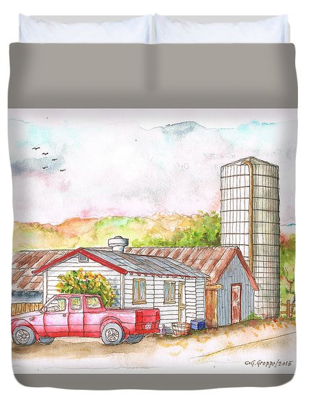 Silo In Los Olivos, California Duvet Cover