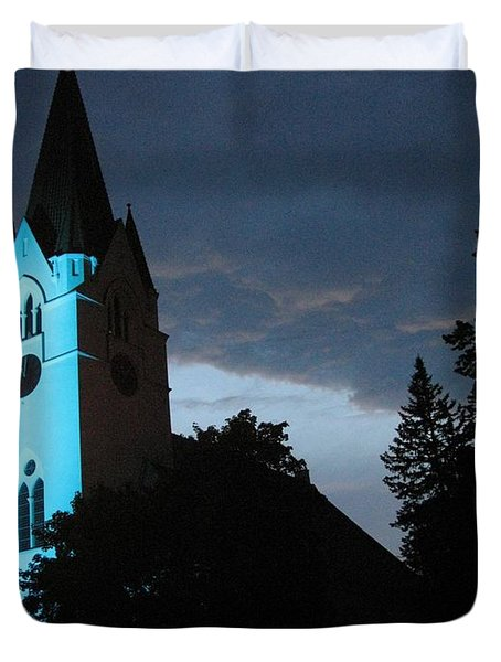 Duvet Cover featuring the photograph Silute Lutheran Evangelic Church Lithuania by Ausra Huntington nee Paulauskaite