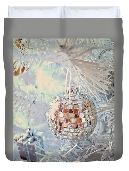 Silver And White Christmas Duvet Cover