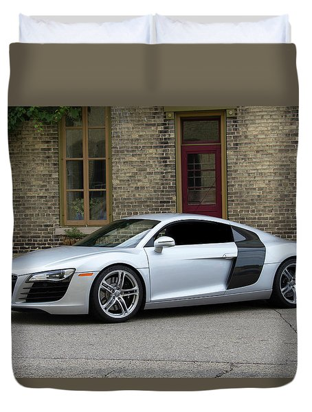 Duvet Cover featuring the photograph Silver Audi R8 by Joel Witmeyer